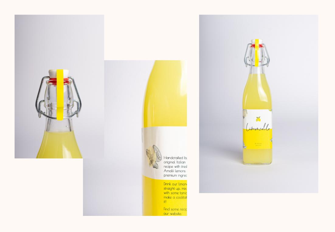 Detail foto etiket op fles Lemonzest