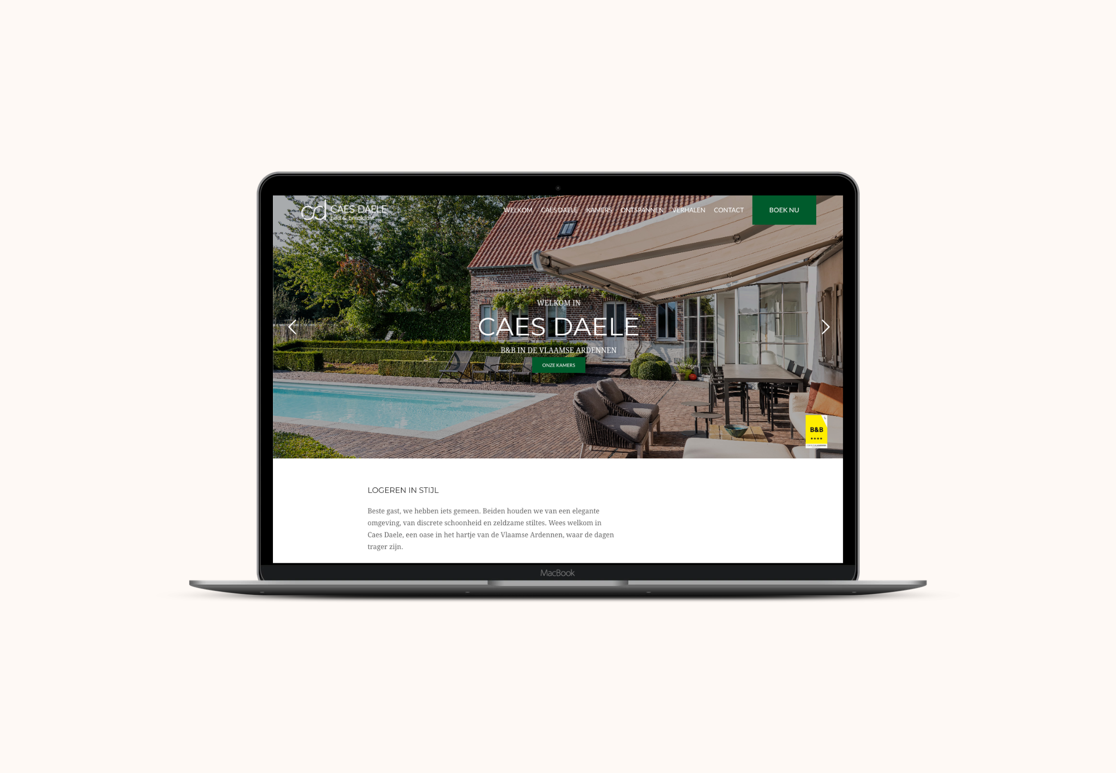 Website Caes Daele laptop view homepage