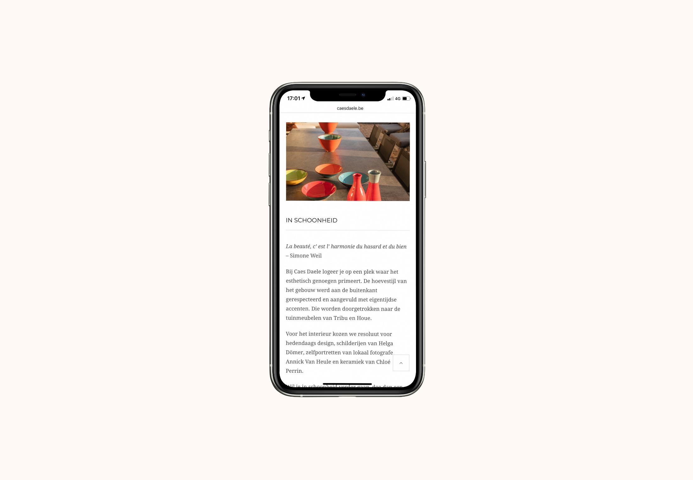 website Caes Daele smartphone view