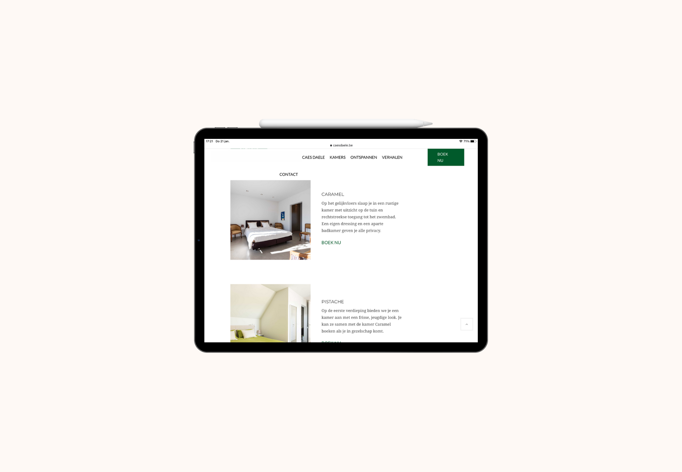 website Caes Daele tablet view kamers