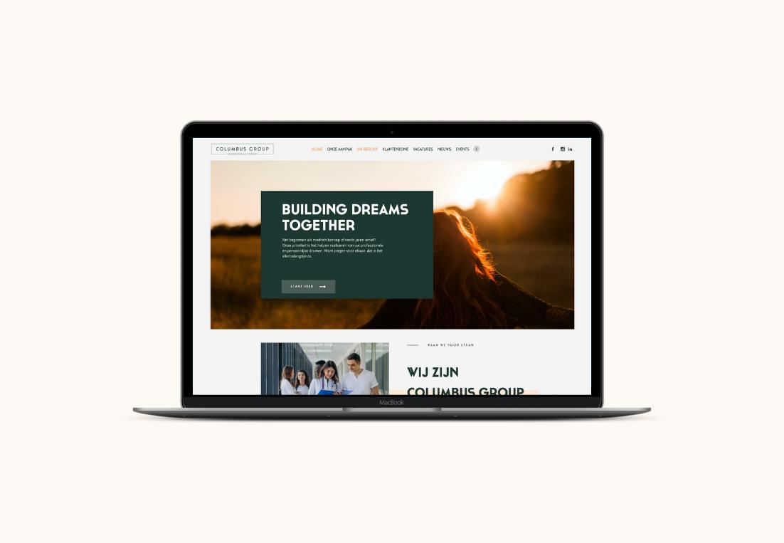 Website Columbus Group laptop view