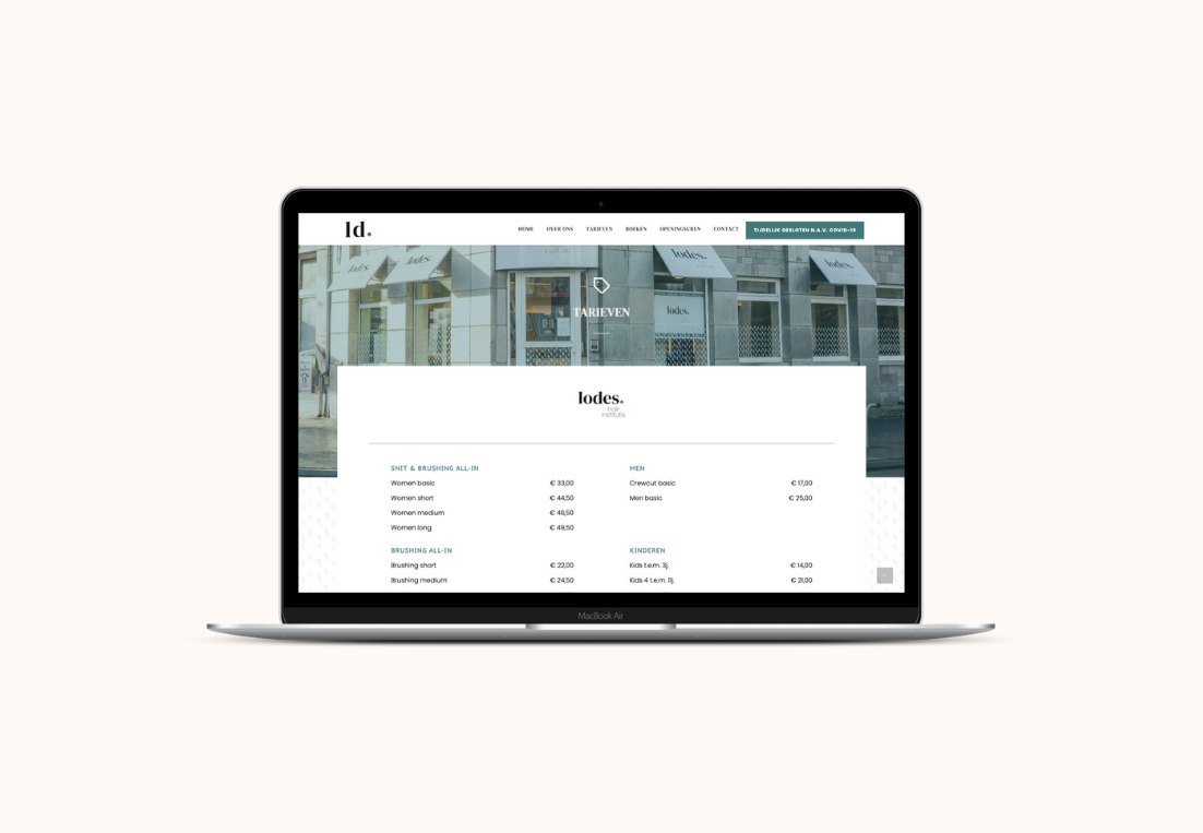 lodes website view laptop